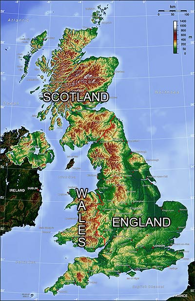 topography map of England