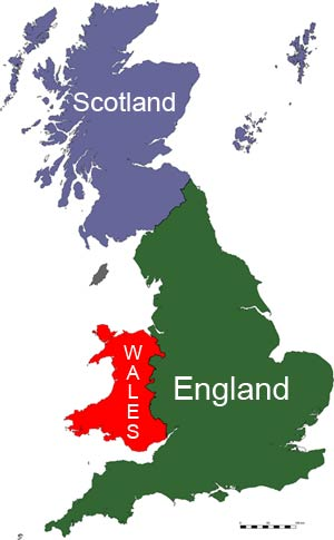 Map of Great Britain showing the 3 countries of England, Scotland, and Wales