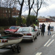 Boats in queue for flood 2005. Carlisle, Cumbria