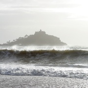 St Michaels Mount, Cornwall, on a windy December day.