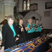 Handbell ringers at Holy Trinity Church, Cookham