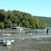 The River Dart at low tide looking from Dittisham towards Greenway Quay