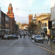 Looking down Knowsley St. in Bolton, Lancashire