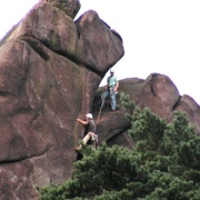 Rock climbers on the Roaches in Staffordshire