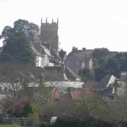 Langport in Somerset. All Saints church on the hill overlooking the town