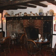 April Garden Tea Room hearth, 16th century building, Mayfield, East Sussex.