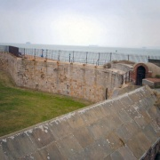 The now empty moat surrounding Southsea Castle.  Taken 16th March 2006.