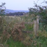 Fence to at the top of Helsby Hill.