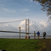 The Humber Bridge taken from the Barton Upon Humber bridge viewing area and park.