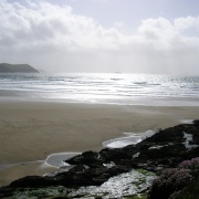 Bay at New Polzeath in early evening. Walk left on Beach for just yards to Polzeath.