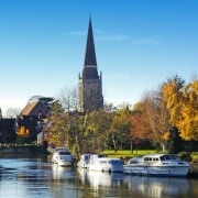 View across the Thames at St Helen's Church, Abingdon, Oxfordshire.