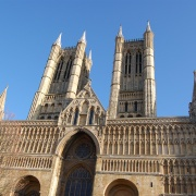 The picture was taken at the front entrance to Lincoln Cathedral