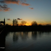 London River Thames Hammersmith Bridge Sunset from the bridge.