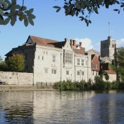 Archbishop's Palace stands on the east bank of the river Medway in Maidstone, Kent
