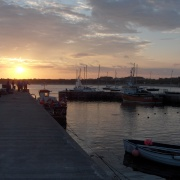 Beadnell harbour, sunset, Northumberland
