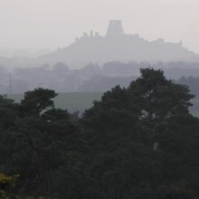 Corfe Castle thro' the mist