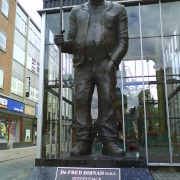 The statue of Fred Dibnah.