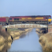 Freight train passing over the Canal bridge at Broomfleet