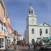 The Guildhall, Faversham, Kent on market day