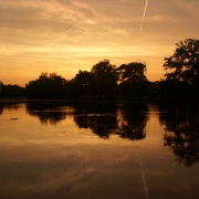 Sunset over Valentines Park lake.