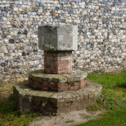 An old font in Blundeston Churchyard which previously belonged to the former nearby Church of Flixton