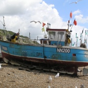Fishing boat on the beach at Hastings