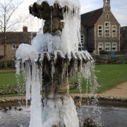 Icebound fountain in the Forbury Gardens, Reading