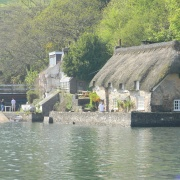 View of a cottage along the River Dart at Dittisham