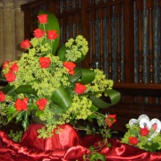 Arrangements in the Wisbech Rose Fair at St Peters Church