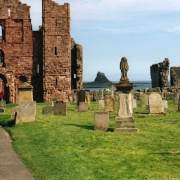 Lindisfarne Abbey with Castle in background