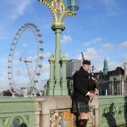 Street Musician playing Bagpipes