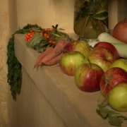 Harvest Festival Display in the St Bartholomew's Church, Blore, Staffordshire