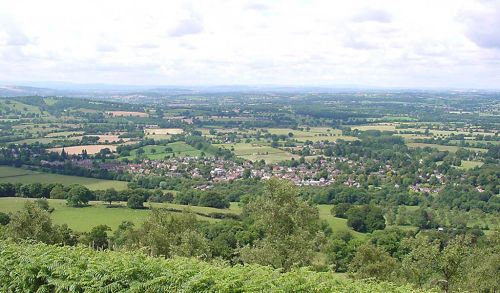 Looking down on the village of Colwall from the Malvern Hills