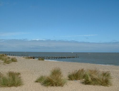 Lowestoft beach, Suffolk (just north of town, looking towards Gorleston and Great Yarmouth).
