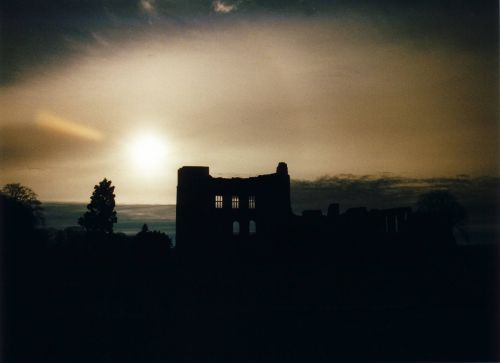 An unusual daytime picture of a part of Kenilworth Castle taken in 2002