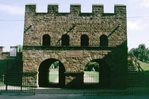 The reconstructed Roman gateway and walls at Castlefield, Manchester.