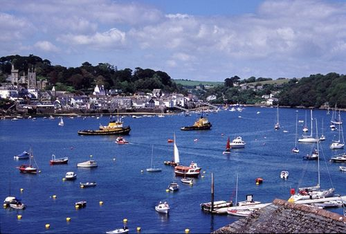 The Cornish town of Fowey pictured from Polruan on the opposite side of the River Fowey.