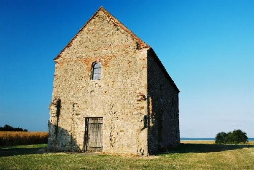 St Peter-on-the-wall. 7th century Saxon church still in use. Bradwell on Sea, Essex