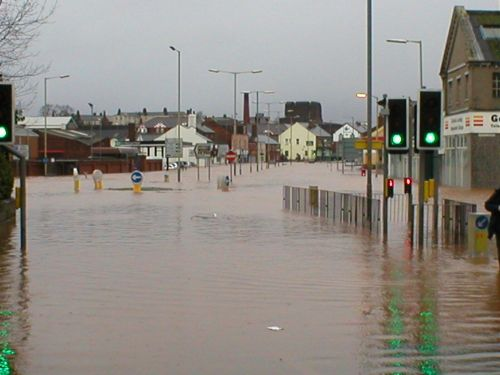 Picture of Caldugate in Carlisle during the flood of Jan 2005
