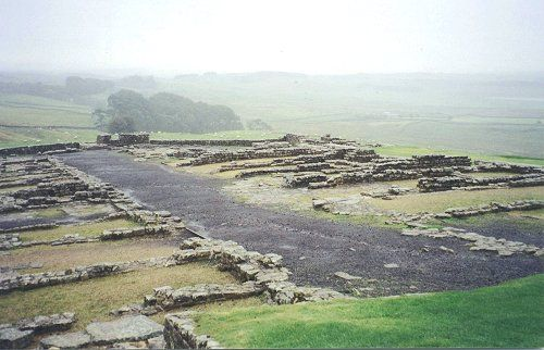 Roman ruins of Housesteads fort along Hadrian's Wall