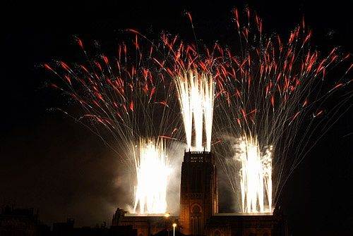 Liverpool Anglican Cathedral, 100 year celebration- firework display (in 2004)
