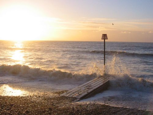 Worthing, East Sussex. Beach at sunrise