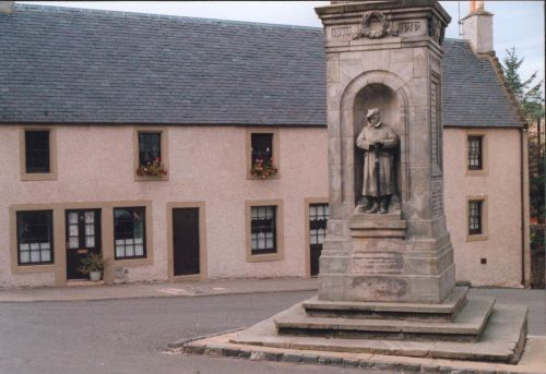 Cottages and War Memorial Auchtermuchty in the Kingdom of Fife
