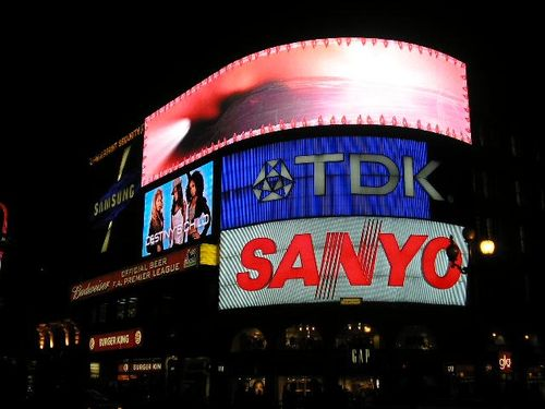 Sign at piccadilly at nite. London