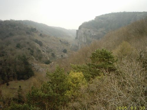 Cheddar Gorge from observation tower at the top of Jacob's Ladder