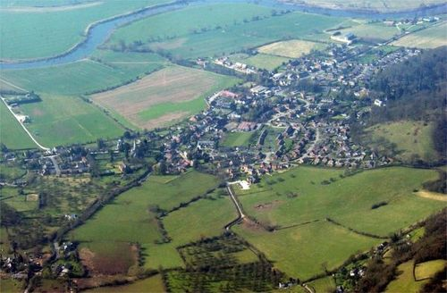 Arial View of Fownhope Village in Herefordshire