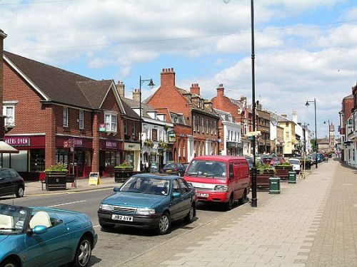 The Centre of Newmarket, Suffolk, with clock tower visible in the distance.