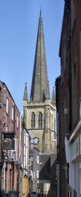 Wakefield Cathedral, West Yorkshire. Viewed from Westgate
