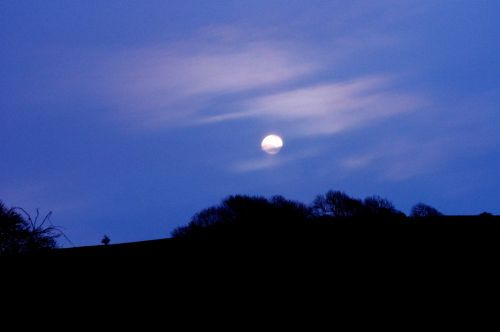 Moon over The Round Hill, Poynings, West Sussex
