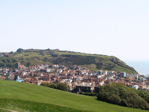 Hastings, East Sussex. The Old Town seen from the West Hill